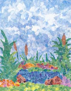 Garden Pond Paper Mosaic 11 X 14
