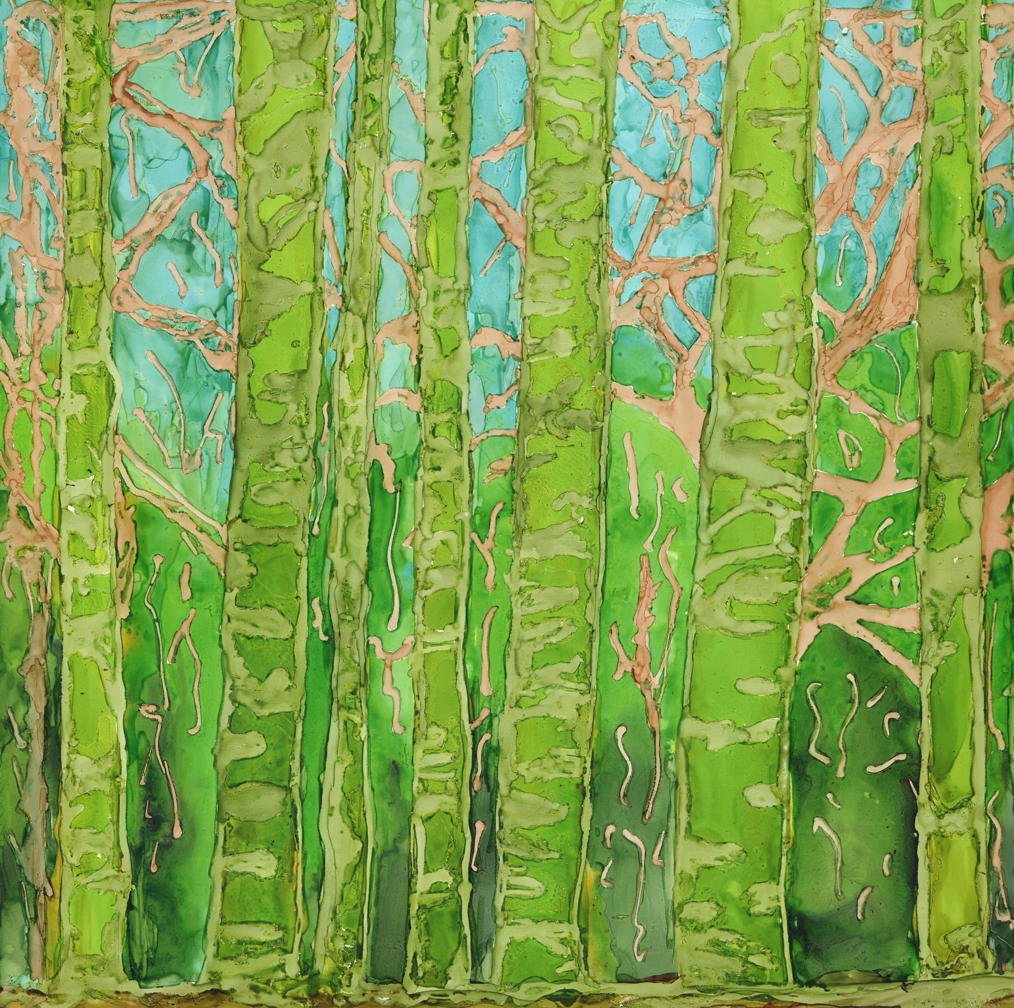 Bamboo Forest - Alcohol Ink - 12 X 12 Sold