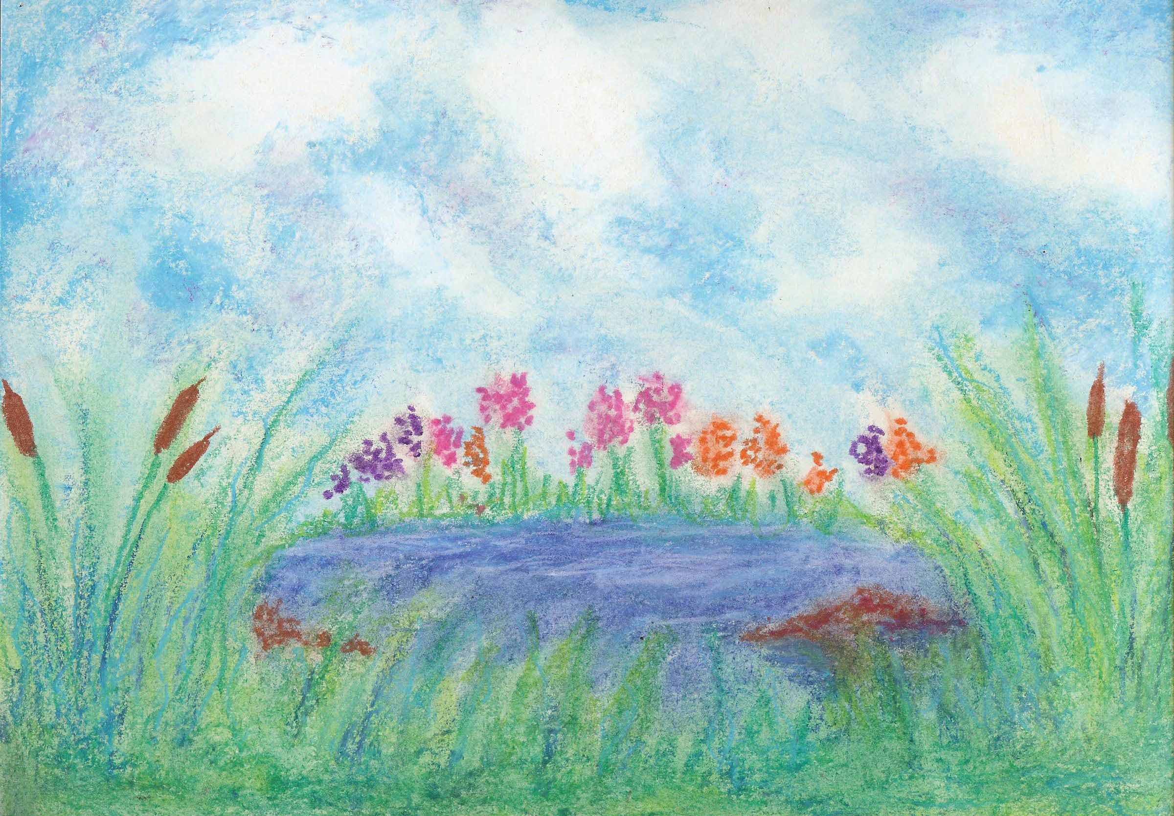 By the Pond - Oil Pastel 8 X 12 - $95