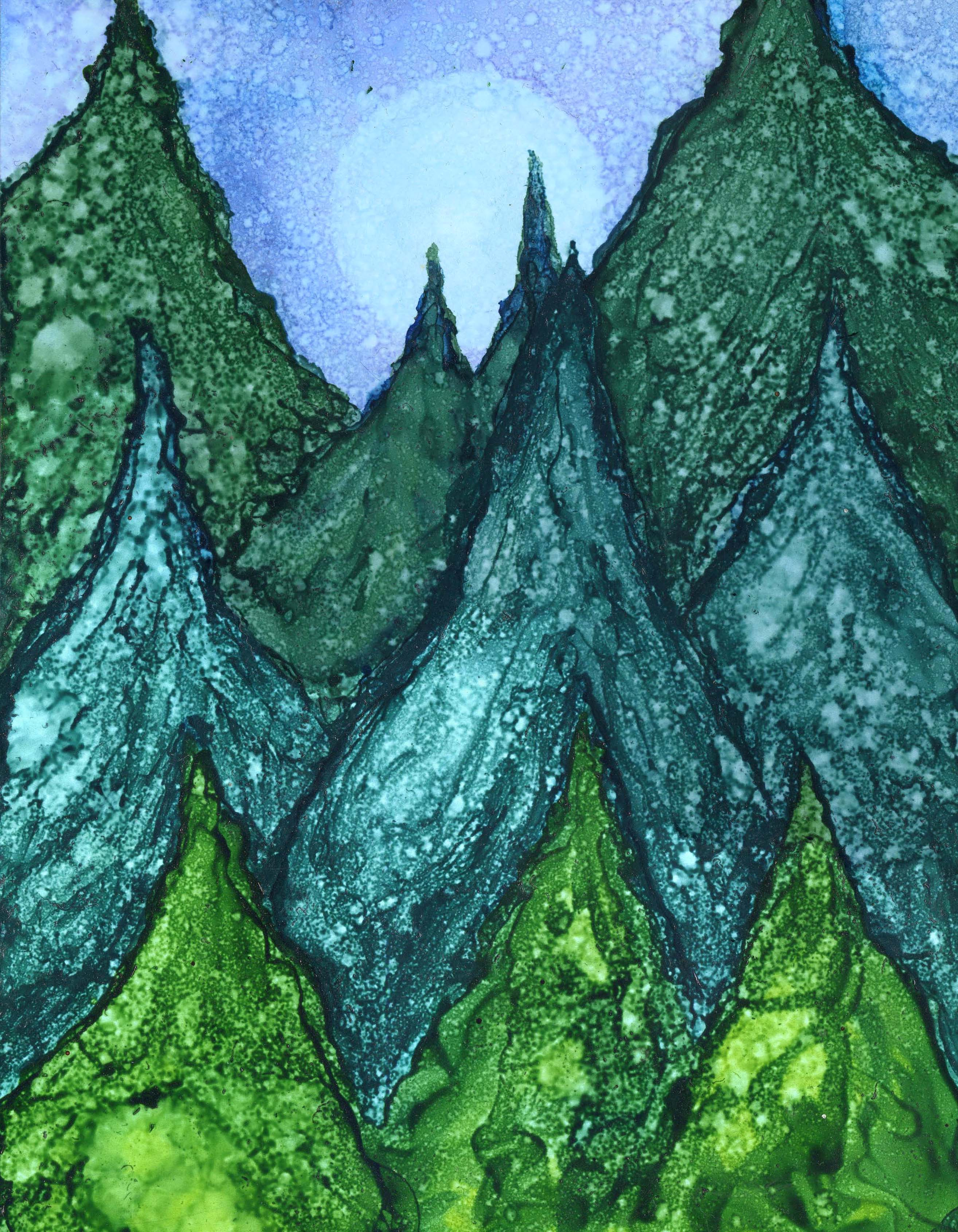 Enchanted Forest - Alcohol Ink 9 X 12 - $140 - Sold