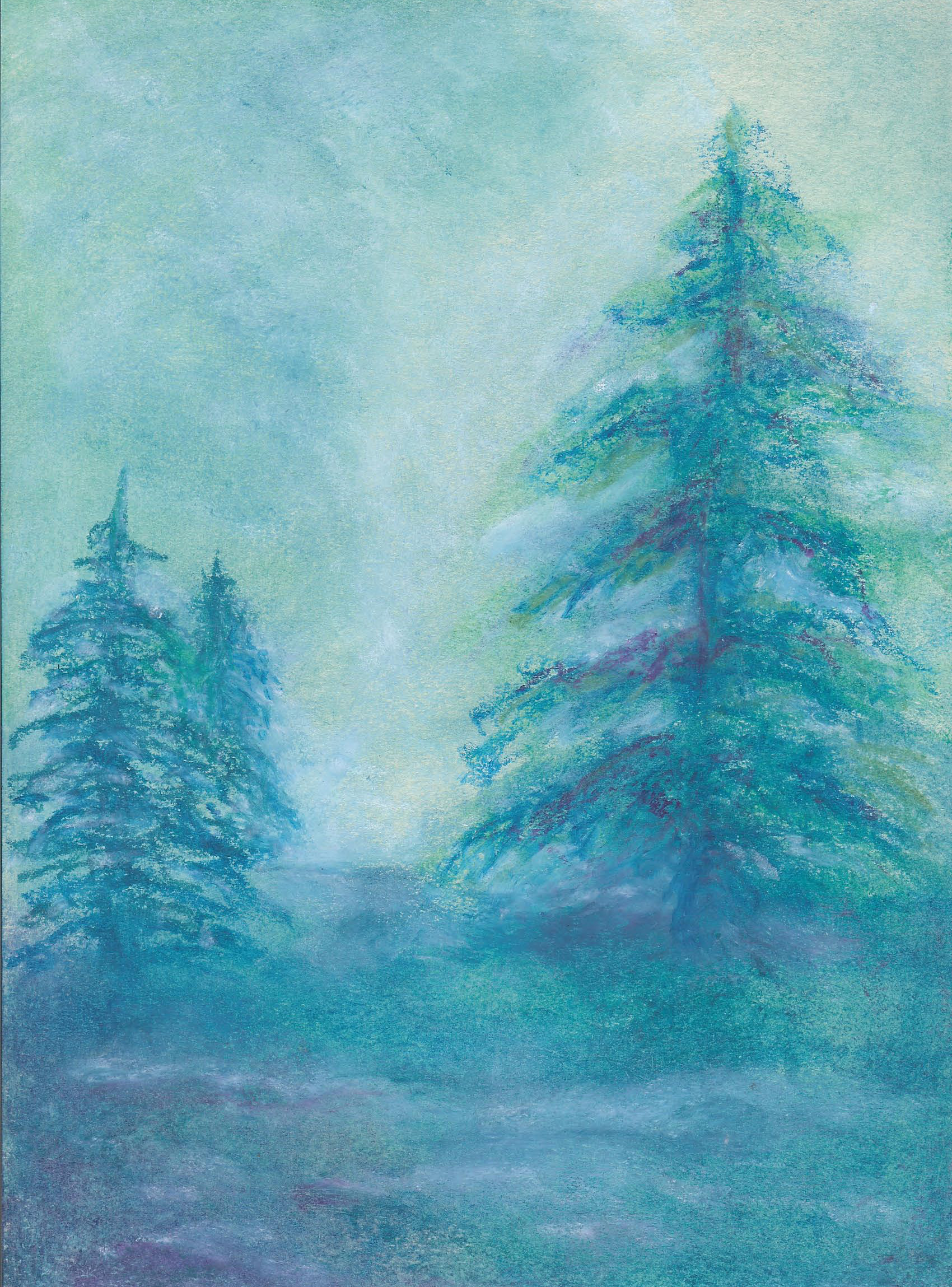 Evergreens in the Light - Oil Pastel 8 X 12- $95