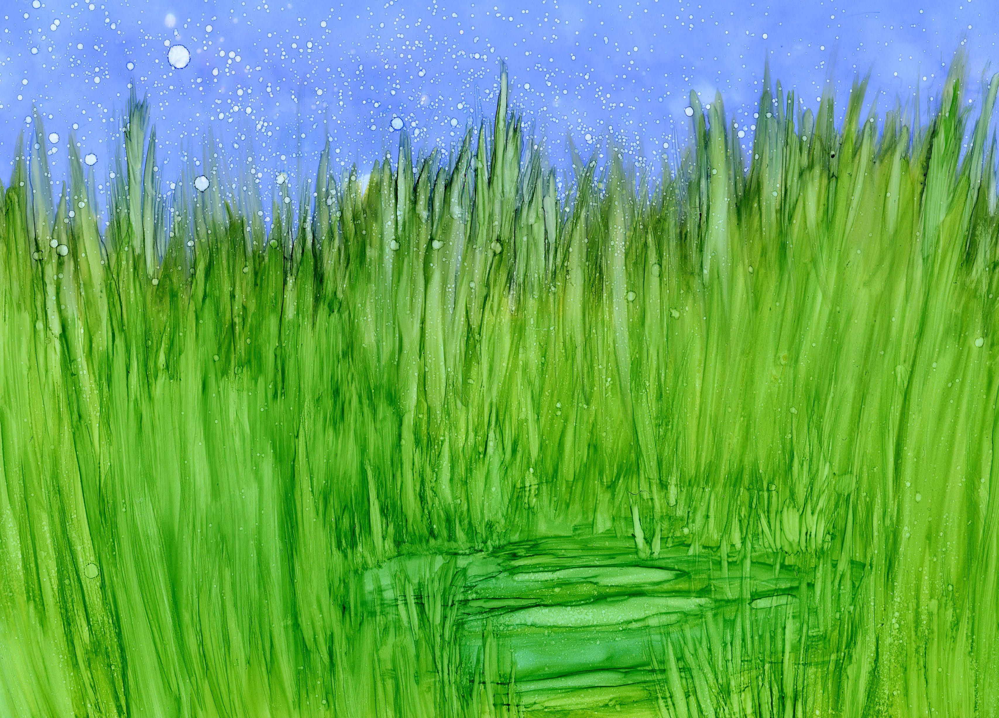 Grassy Marsh - Alcohol Ink 9 X 12 $125
