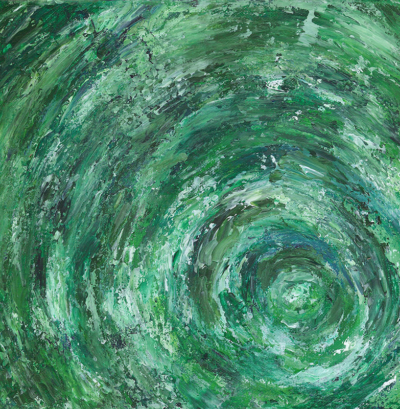 Green Vortex 12 X 12 Acrylic, $150