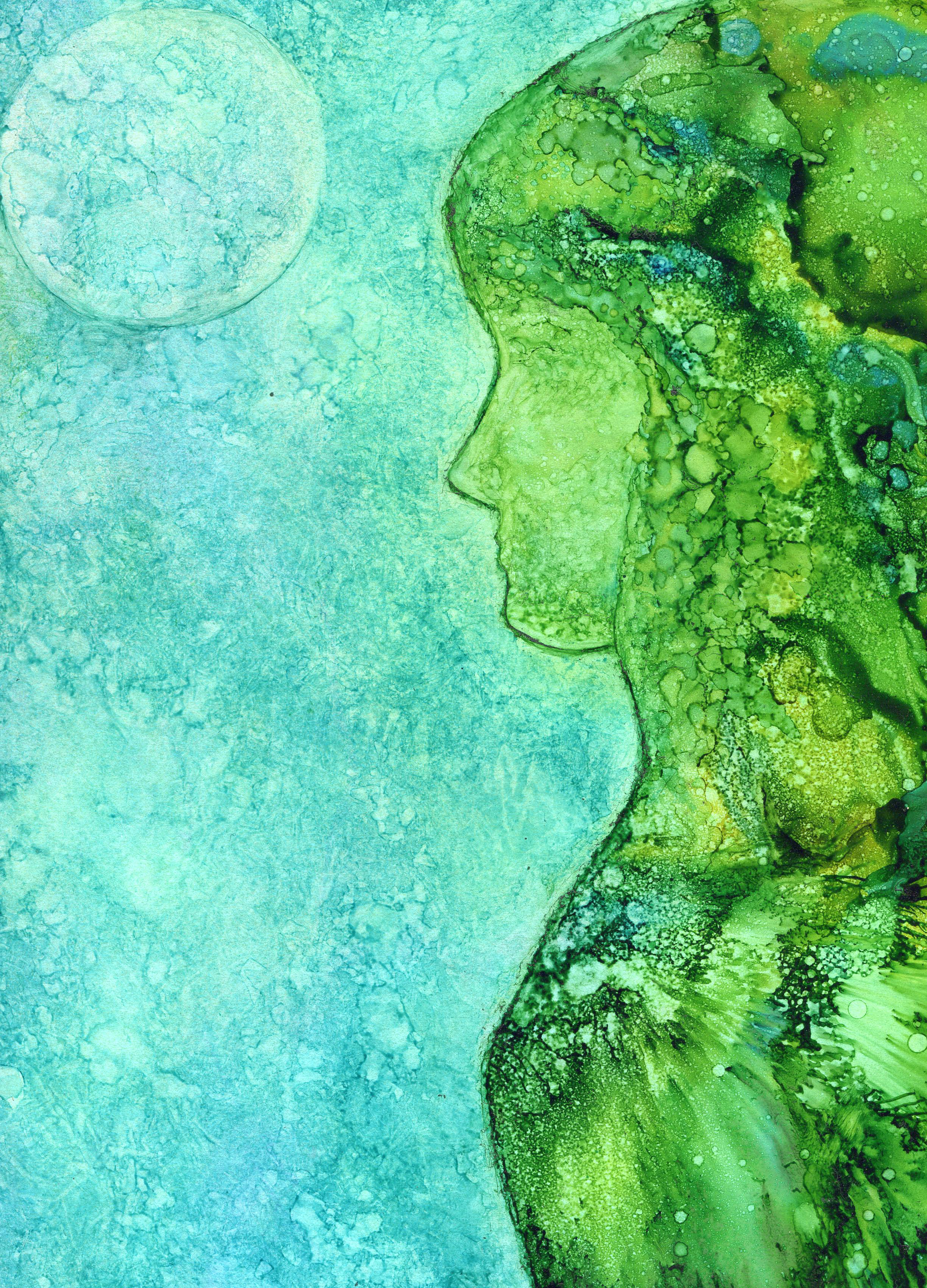 Lady in Green - Alcohol Ink 9 X 12 - $150