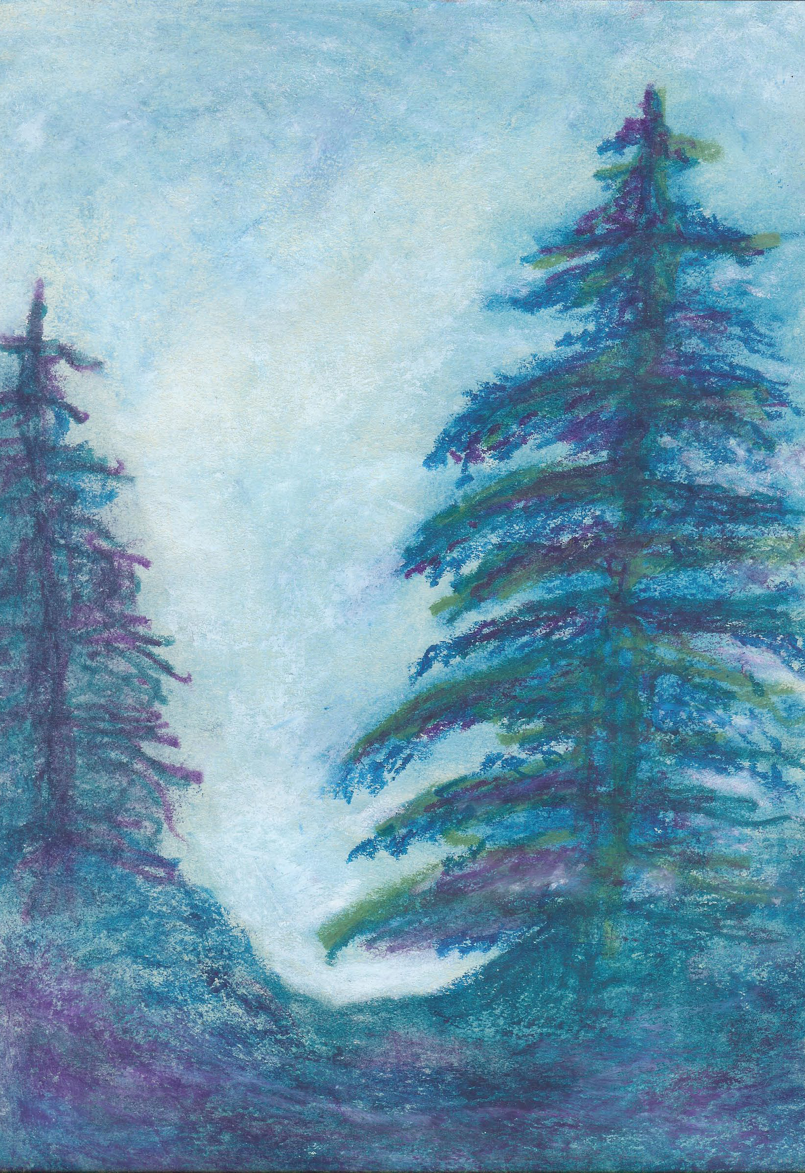 Midwinter Evergreens - Oil Pastel - 8 X 12 - $90