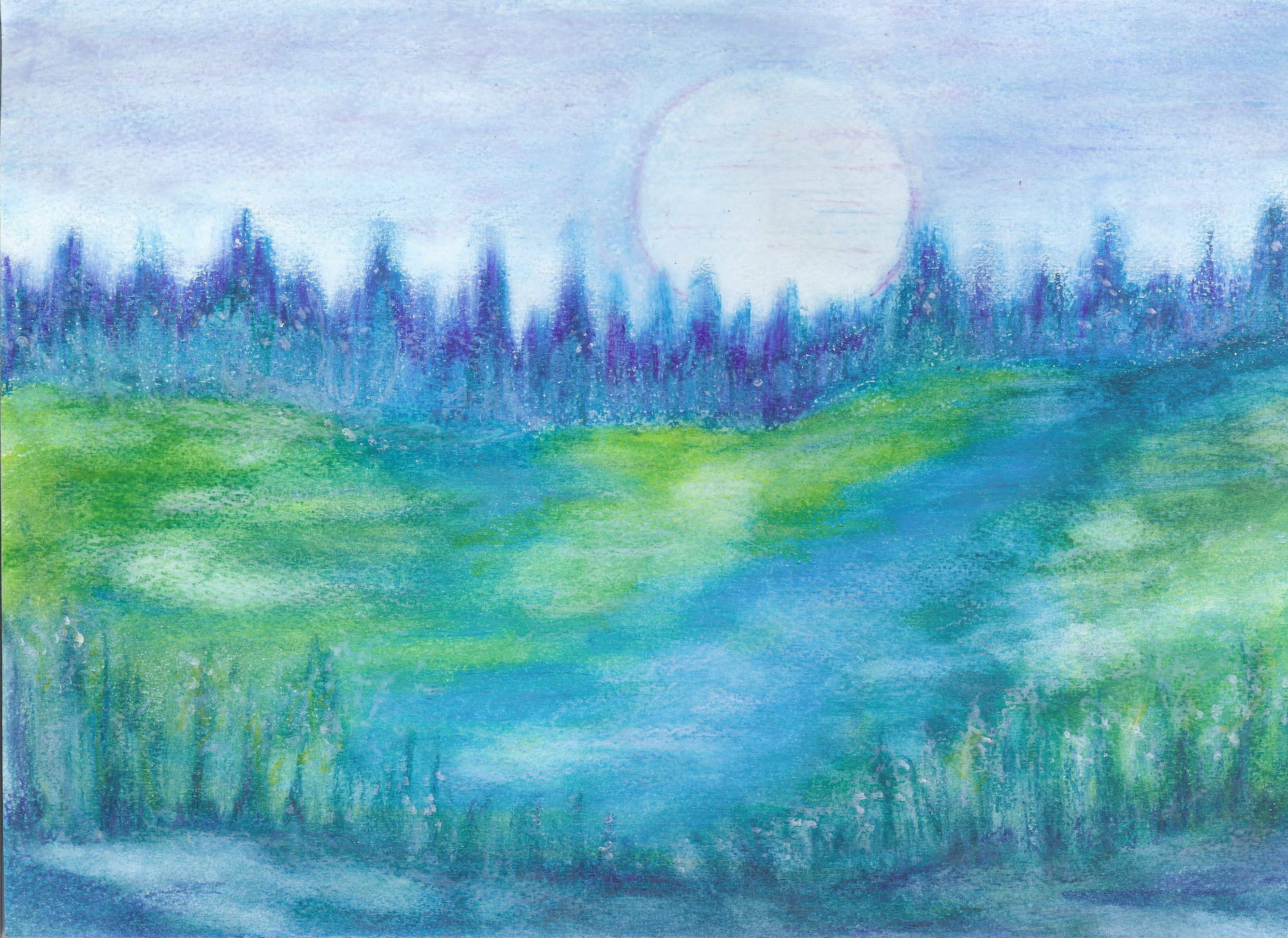 Moon Meadow - Oil Pastel 10 X 14 - $145