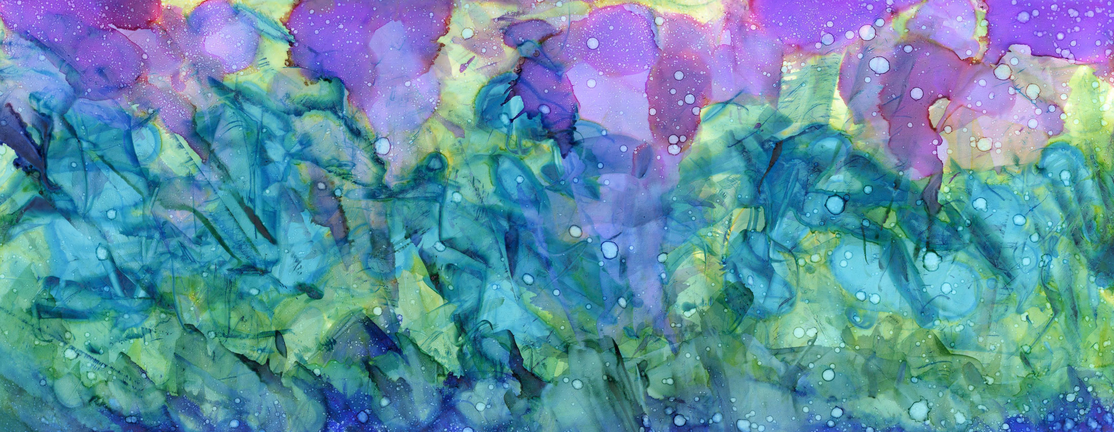 Morning Flowers Alcohol Ink 6 X 15 - Sold