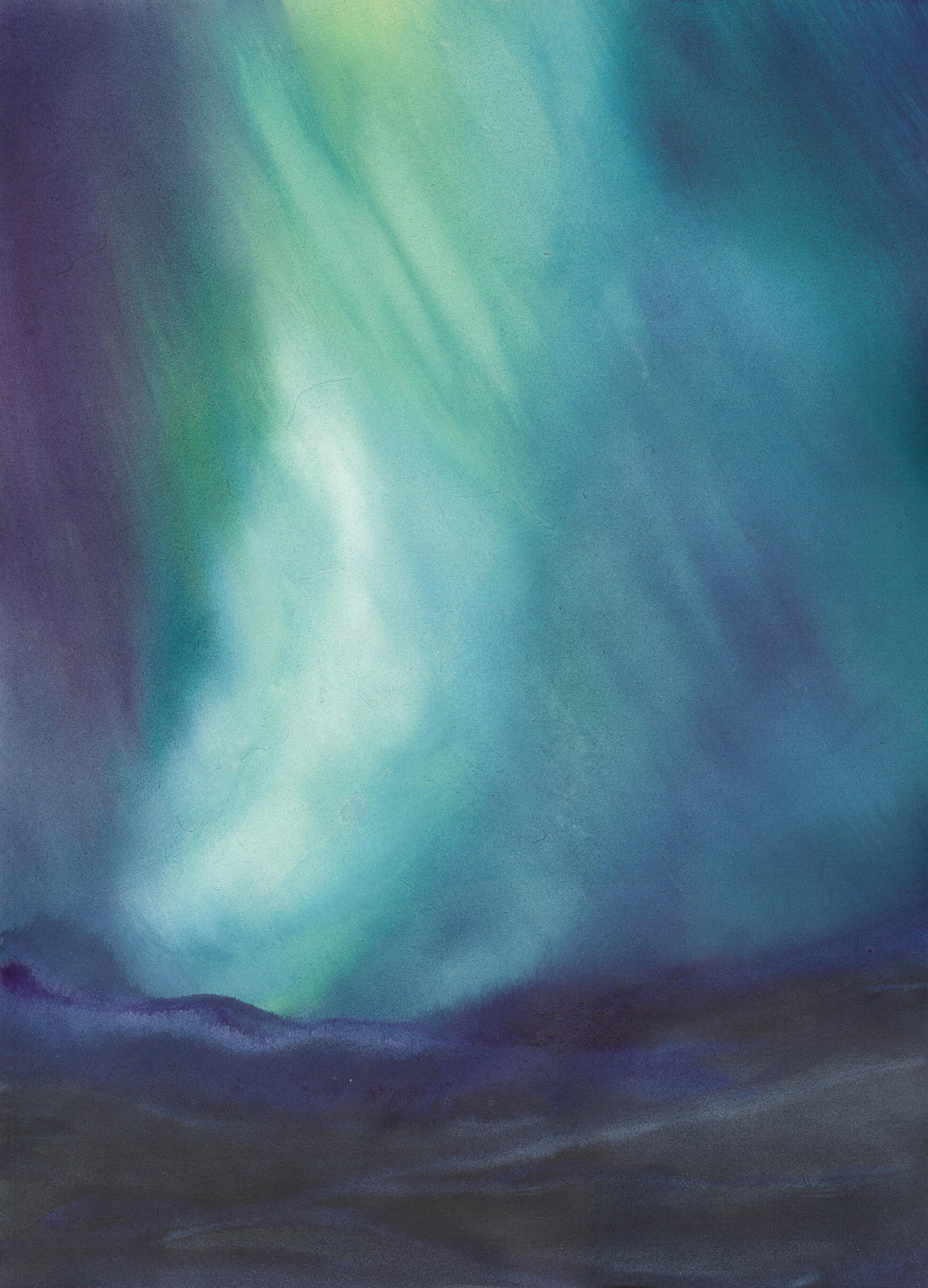 Soft Northern Lights Watercolor 12 X 17 Sold