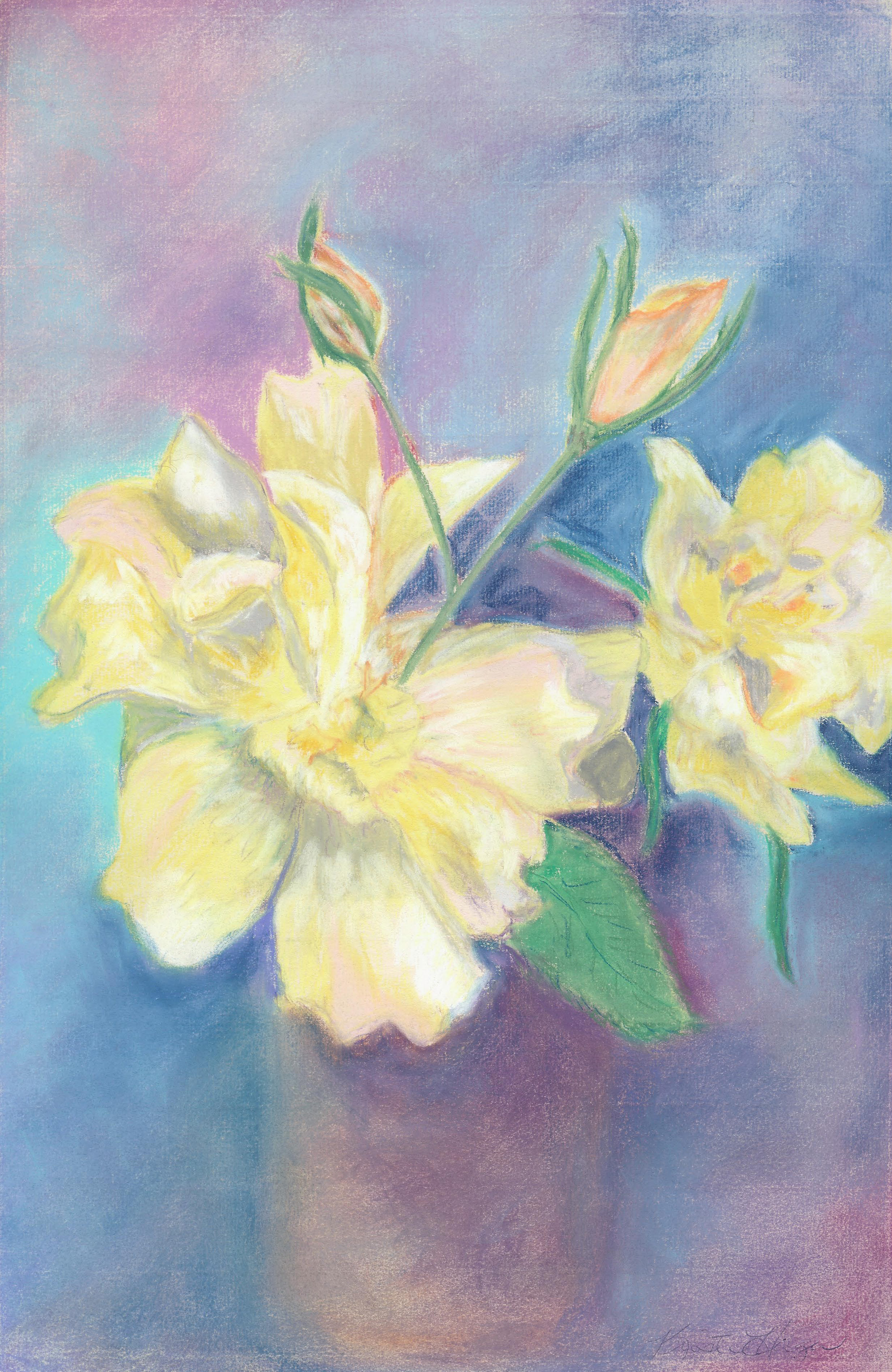 Soft Yellow Flowers Pastel 13 X 20 - $200