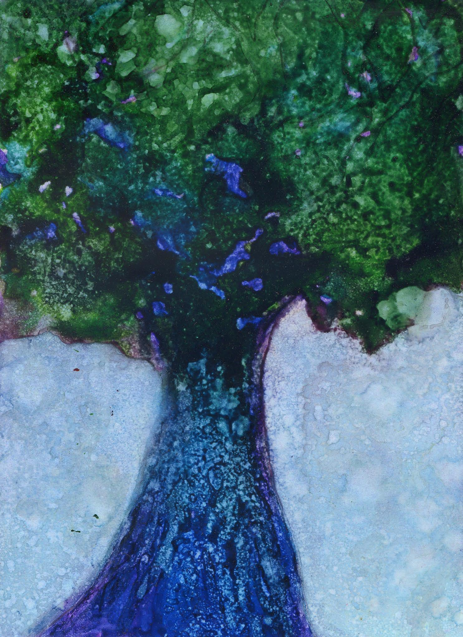 Spring Oak -Alcohol Ink - 5 X 7 - $75