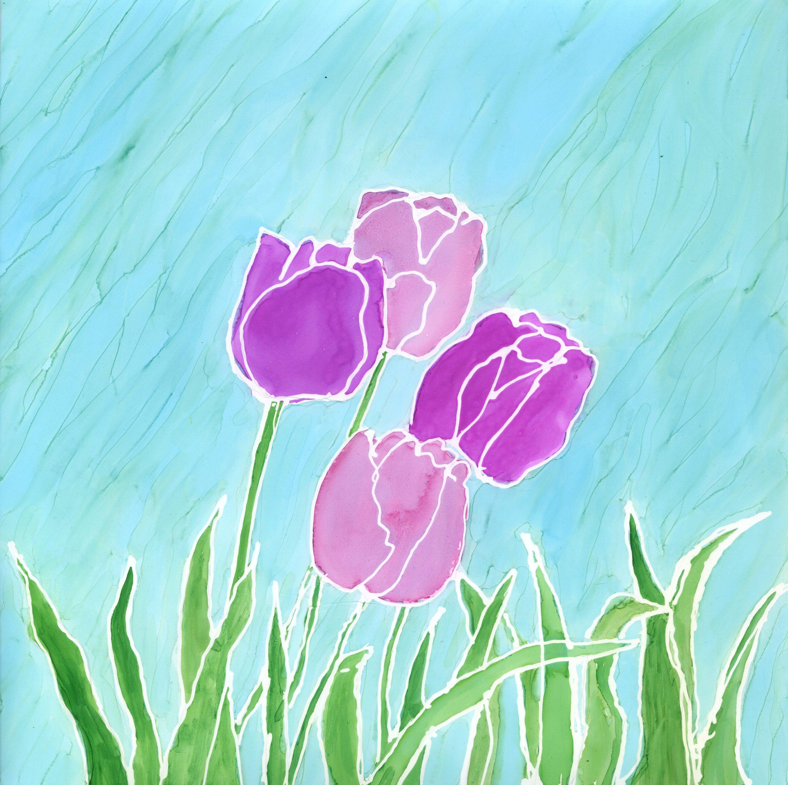 Springtime Tulips - Alcohol Ink - 8 X 8 - $120