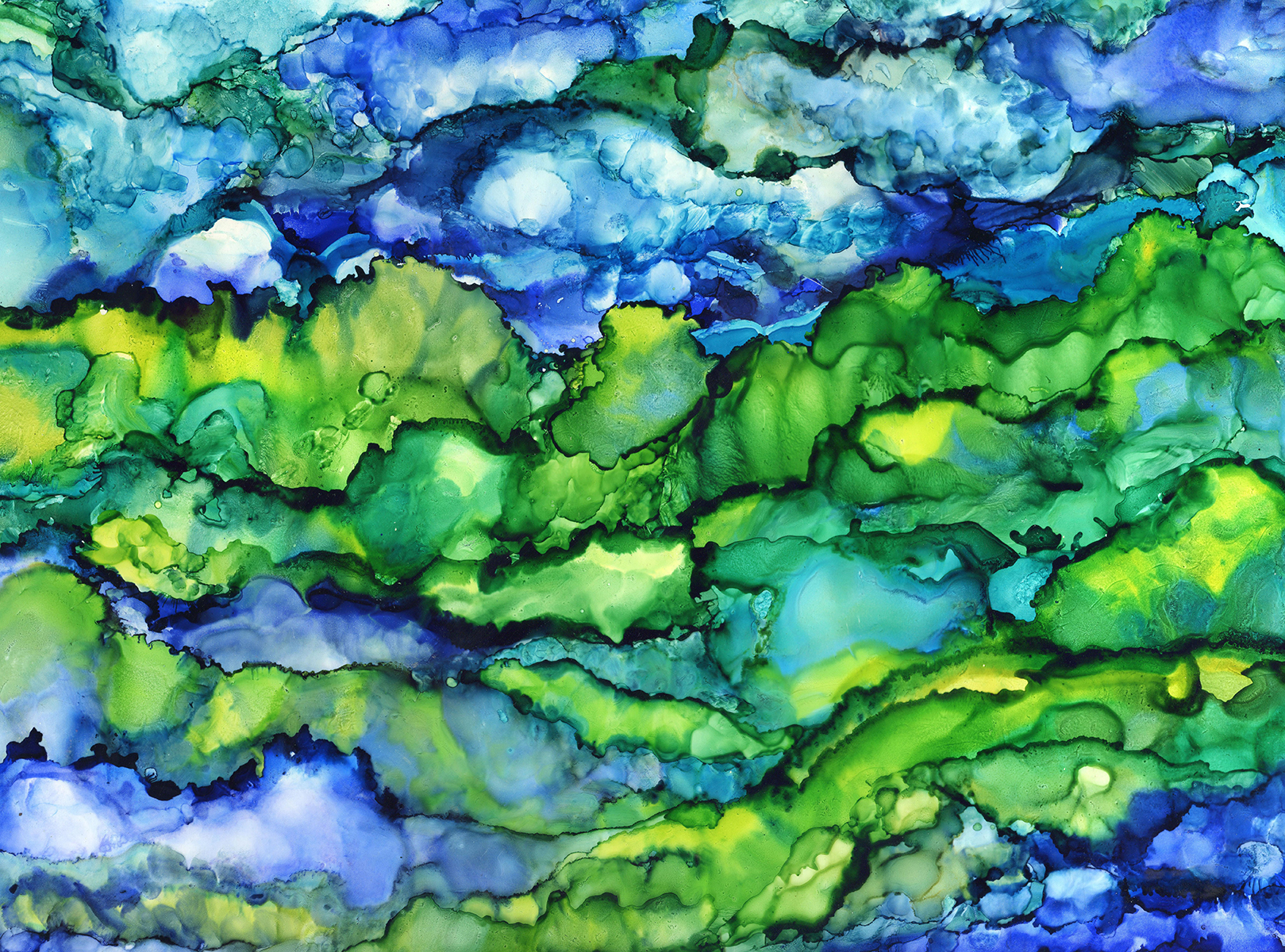 The Hills of Wales - Alcohol Ink - 18 X 24 - Sold - Print Available