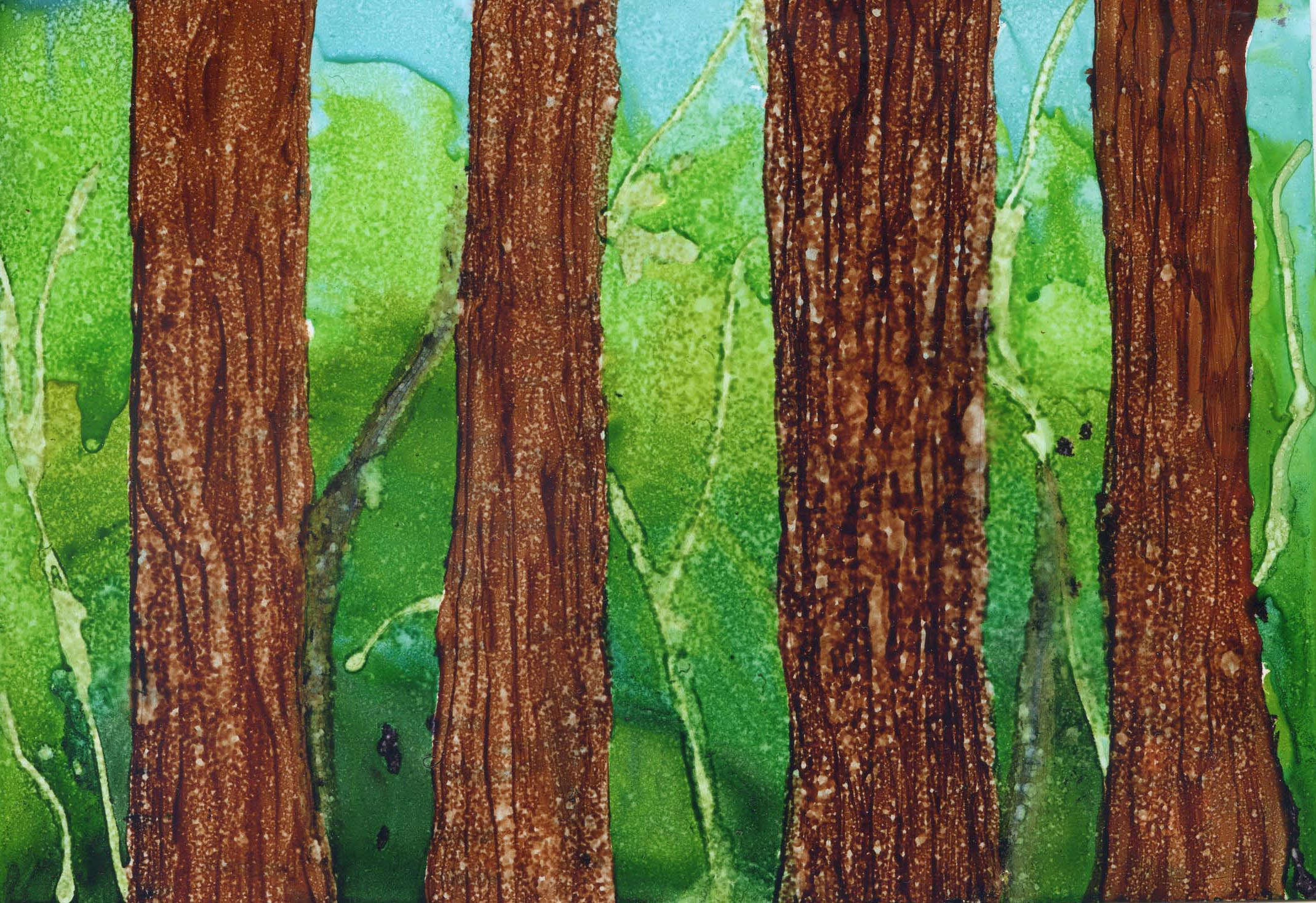 Tree Line - Alcohol Ink - 5 X 7 - $75