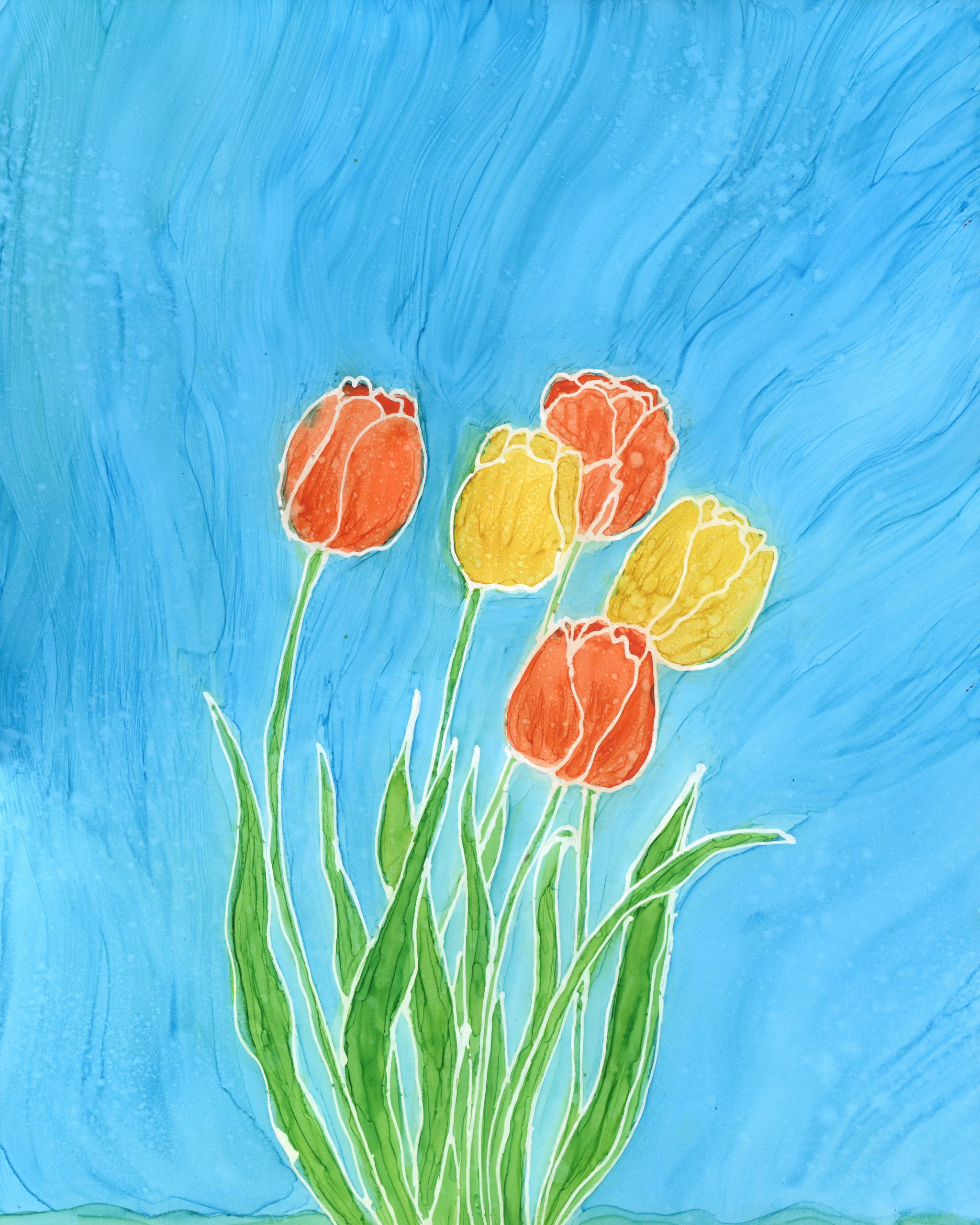 Tulips in Spring - Alcohol Ink - 11 X 14 - $160