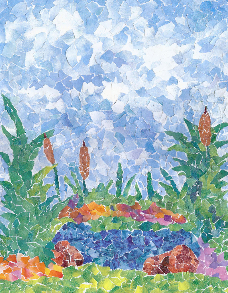 Garden Pond - Paper Mosaic - 11 X 14 -Sold - Print Available