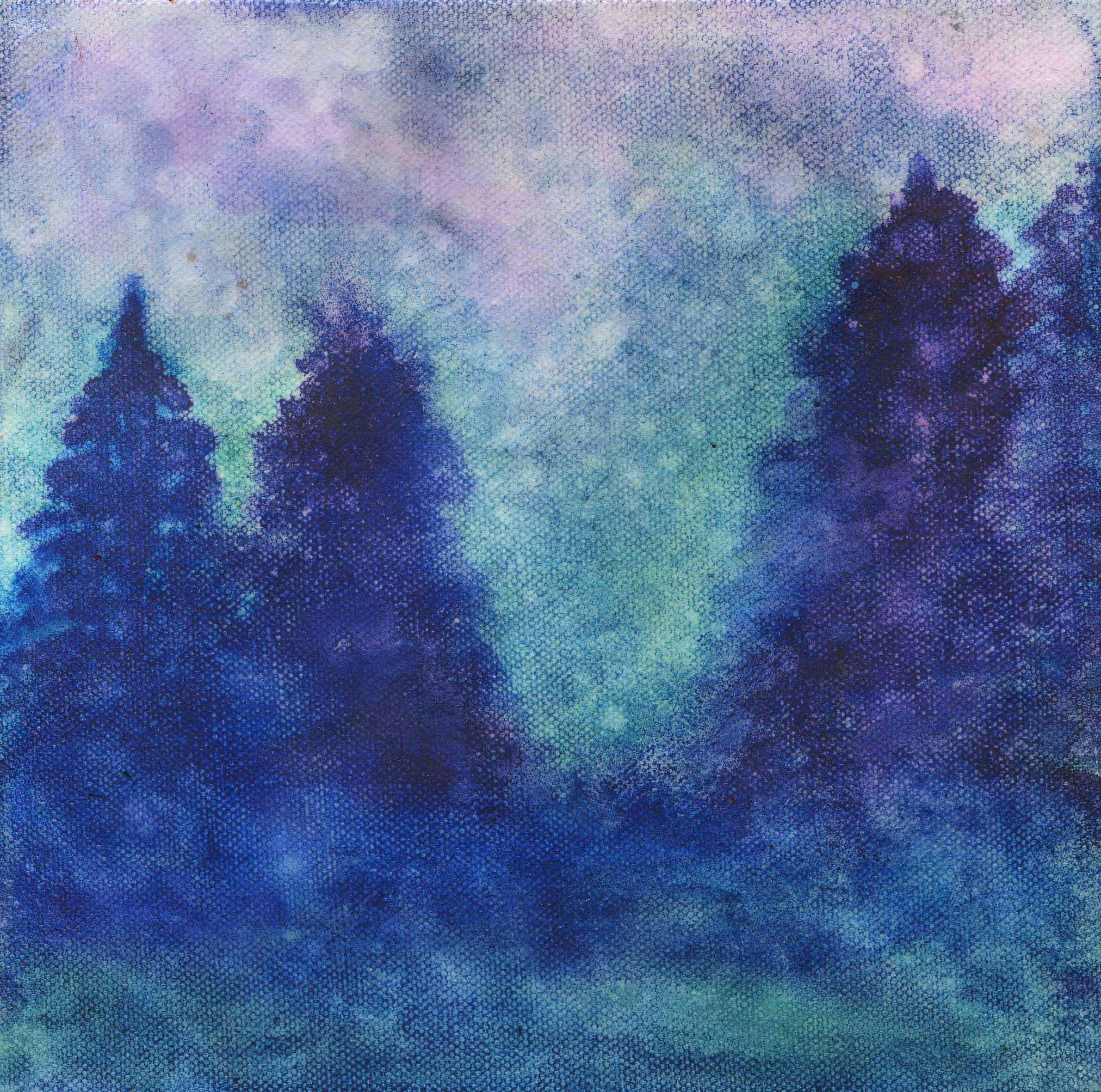 At Twilight Alcohol Ink on canvas - 8 X 8 - $130