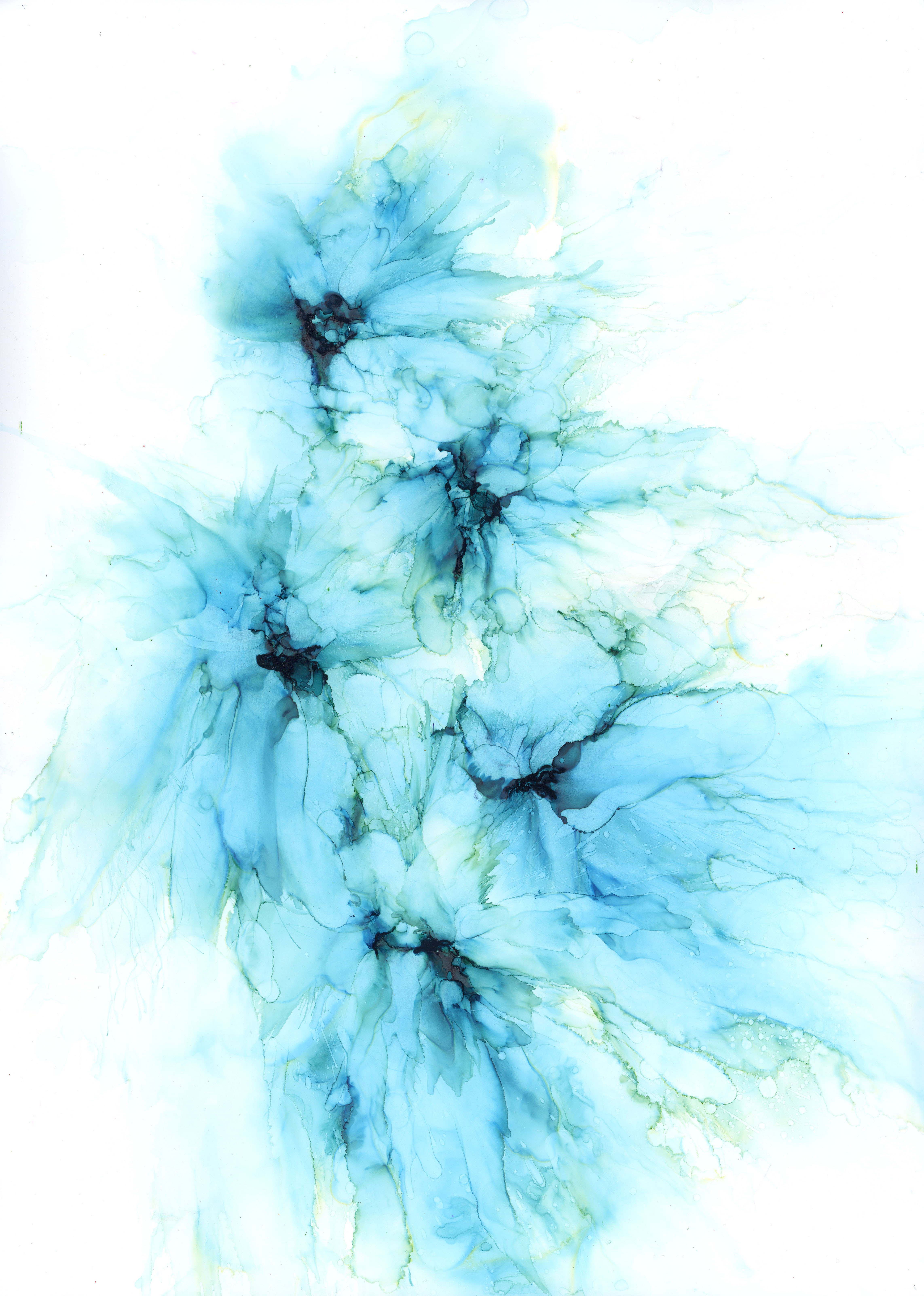 Blue Bouquet - Alcohol Ink- 12 X 16 - $170