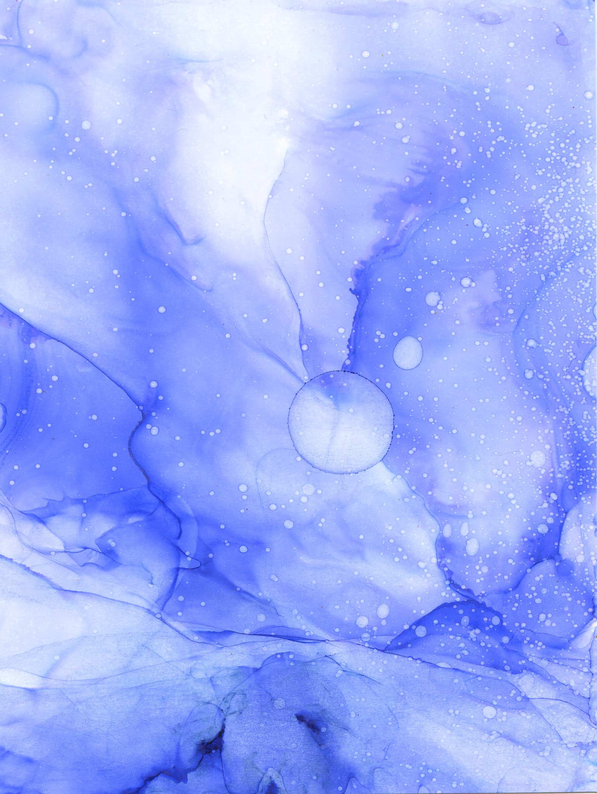 Connor's Blue Moon - Alcohol Ink - 5 X 6 - Sold - Print Available
