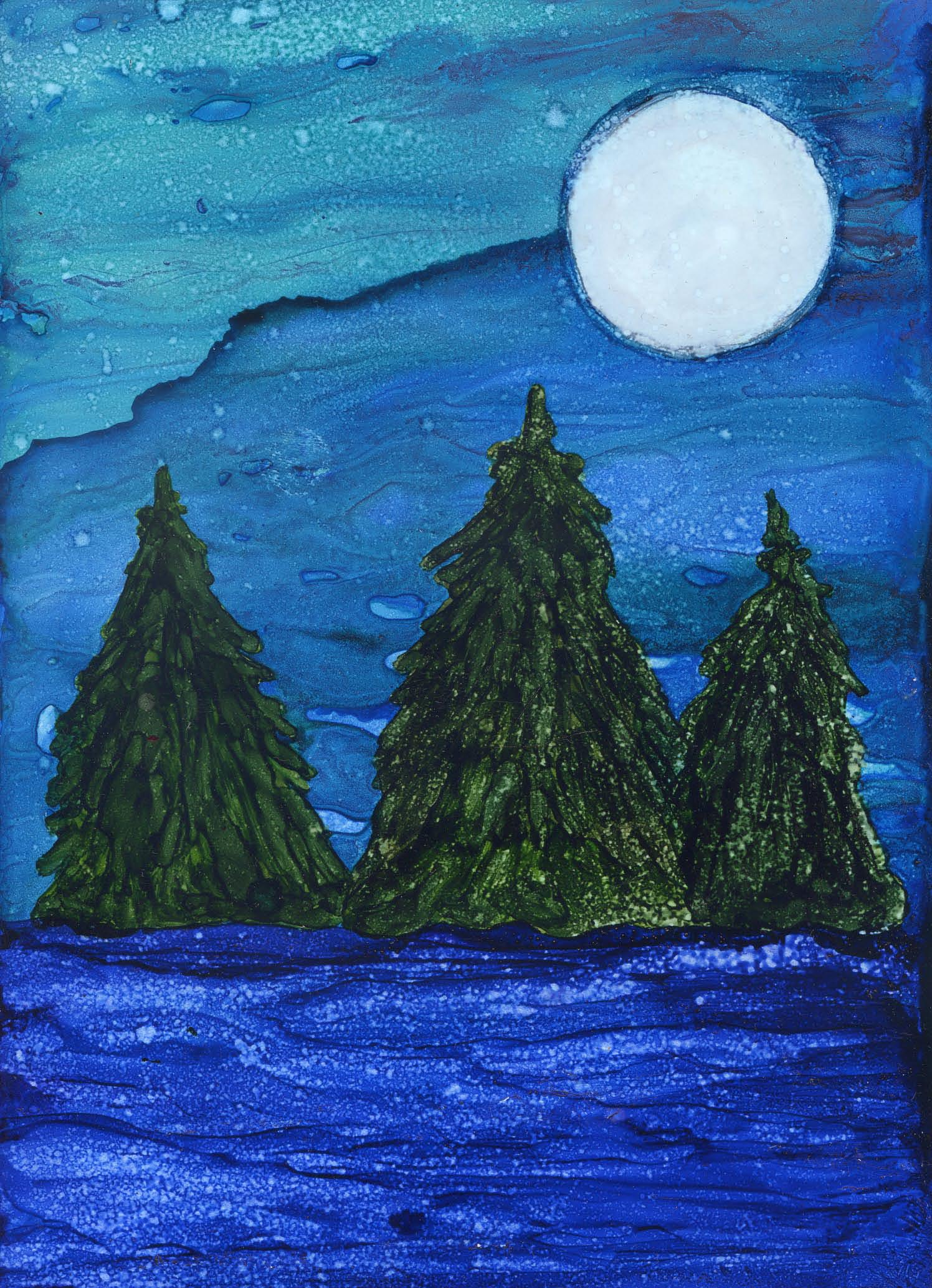 Evergreens in Moonlight -Alcohol Ink - 5 X 7 - $75