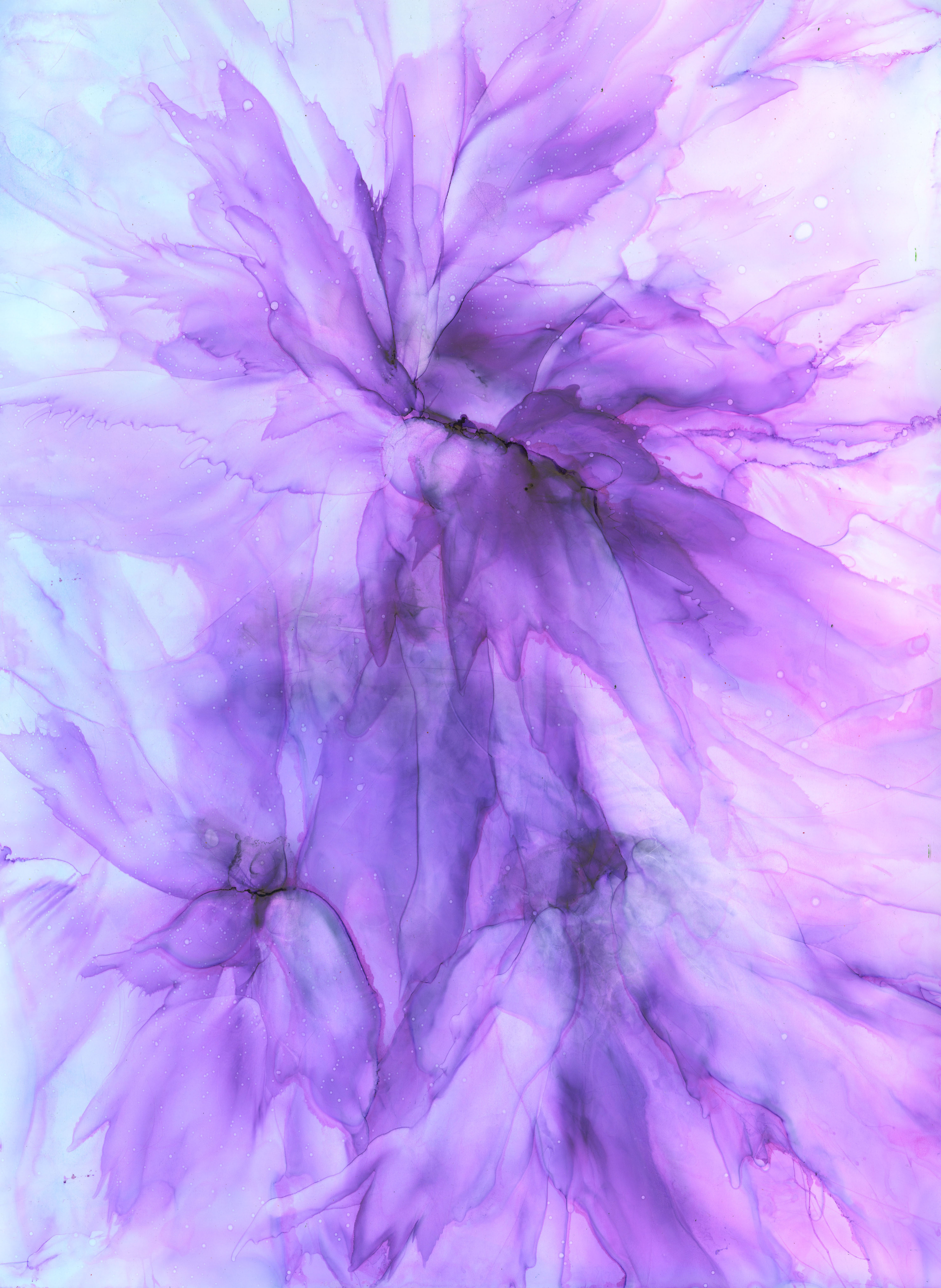 Feathery Flowers - Alcohol Ink- 12 X 16 - $160