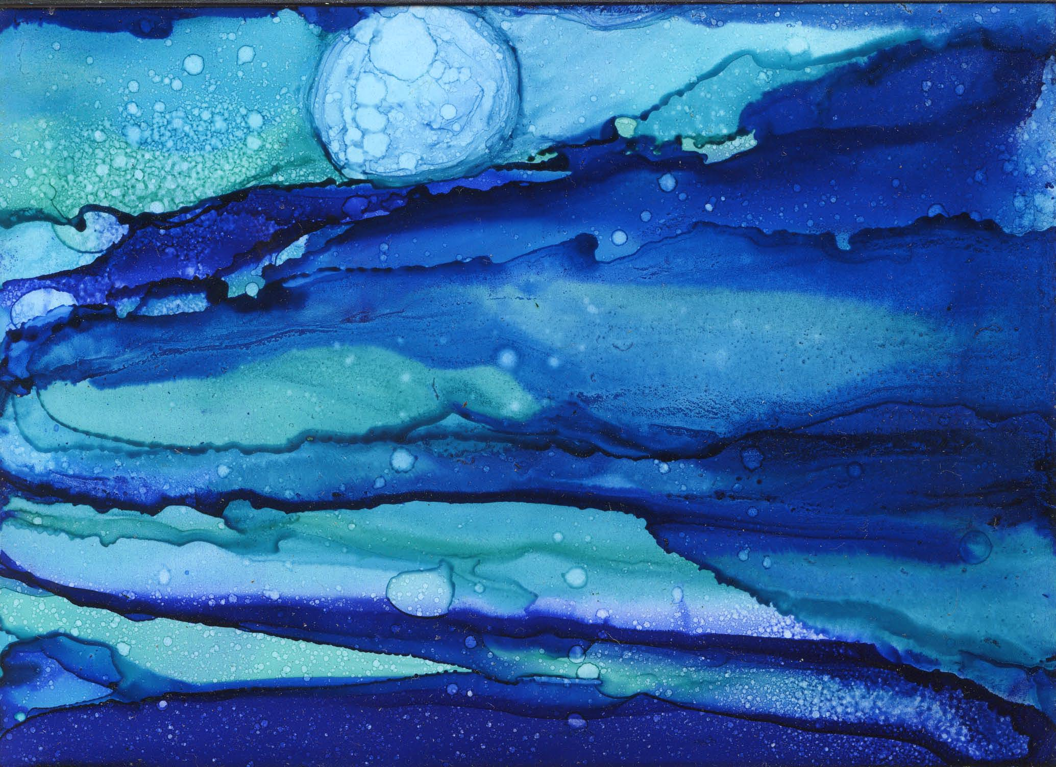 Jack's Moon - Alcohol Ink 5 X 7 6-2017 Sold