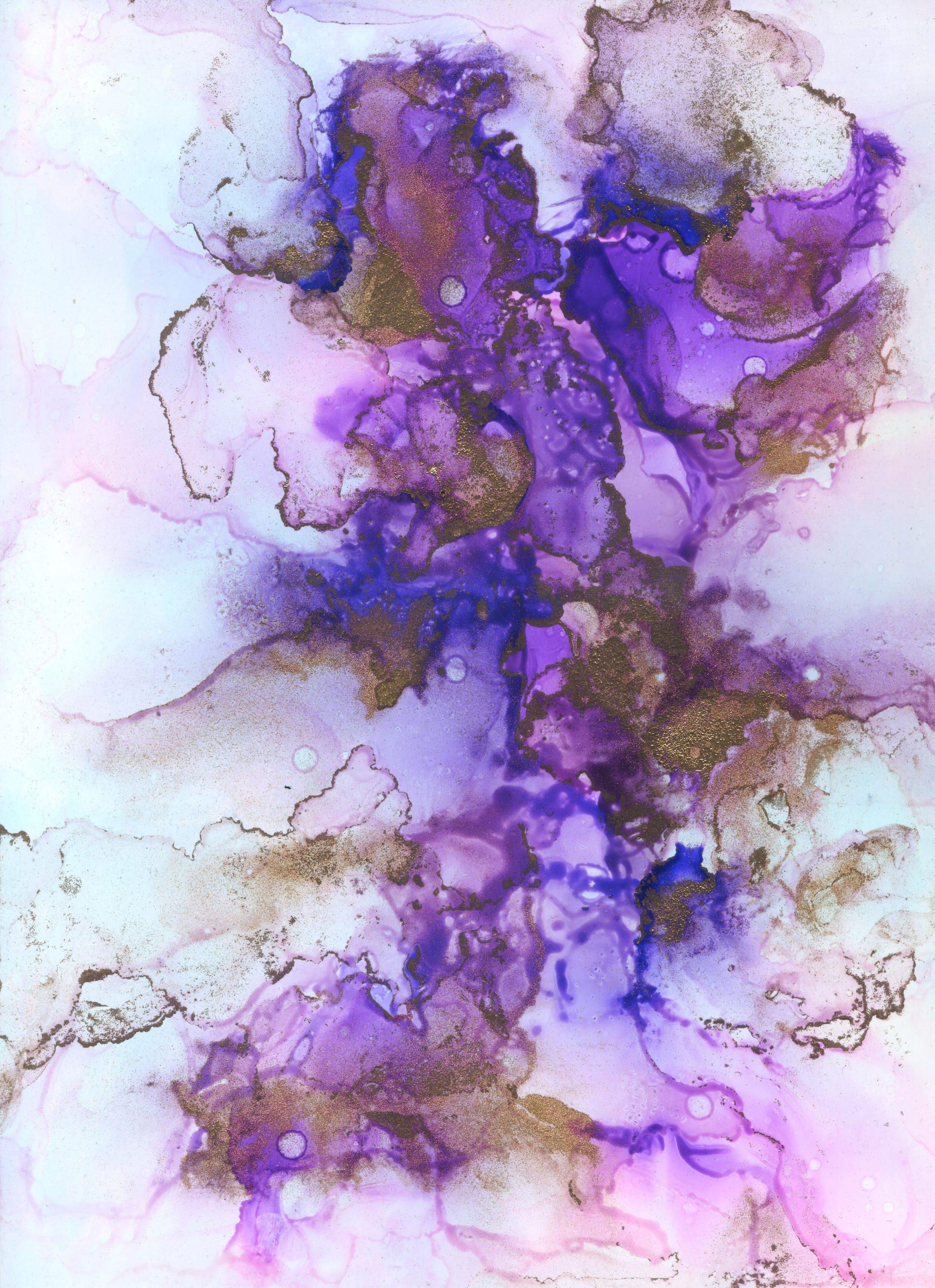 Lavender Nebula - Alcohol Ink - 9 X 12 - $140