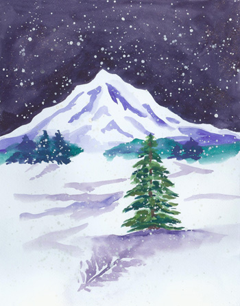 Midnight Snow - watercolor 11x13, $175