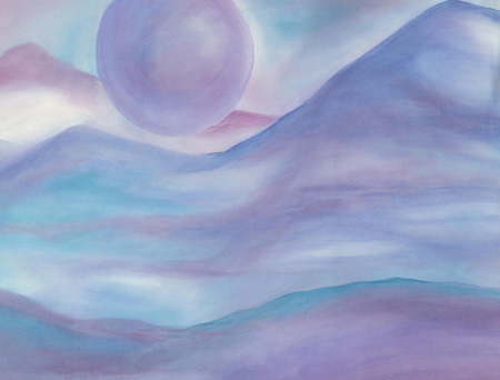 Moon Planet - watercolor 20x25, $300