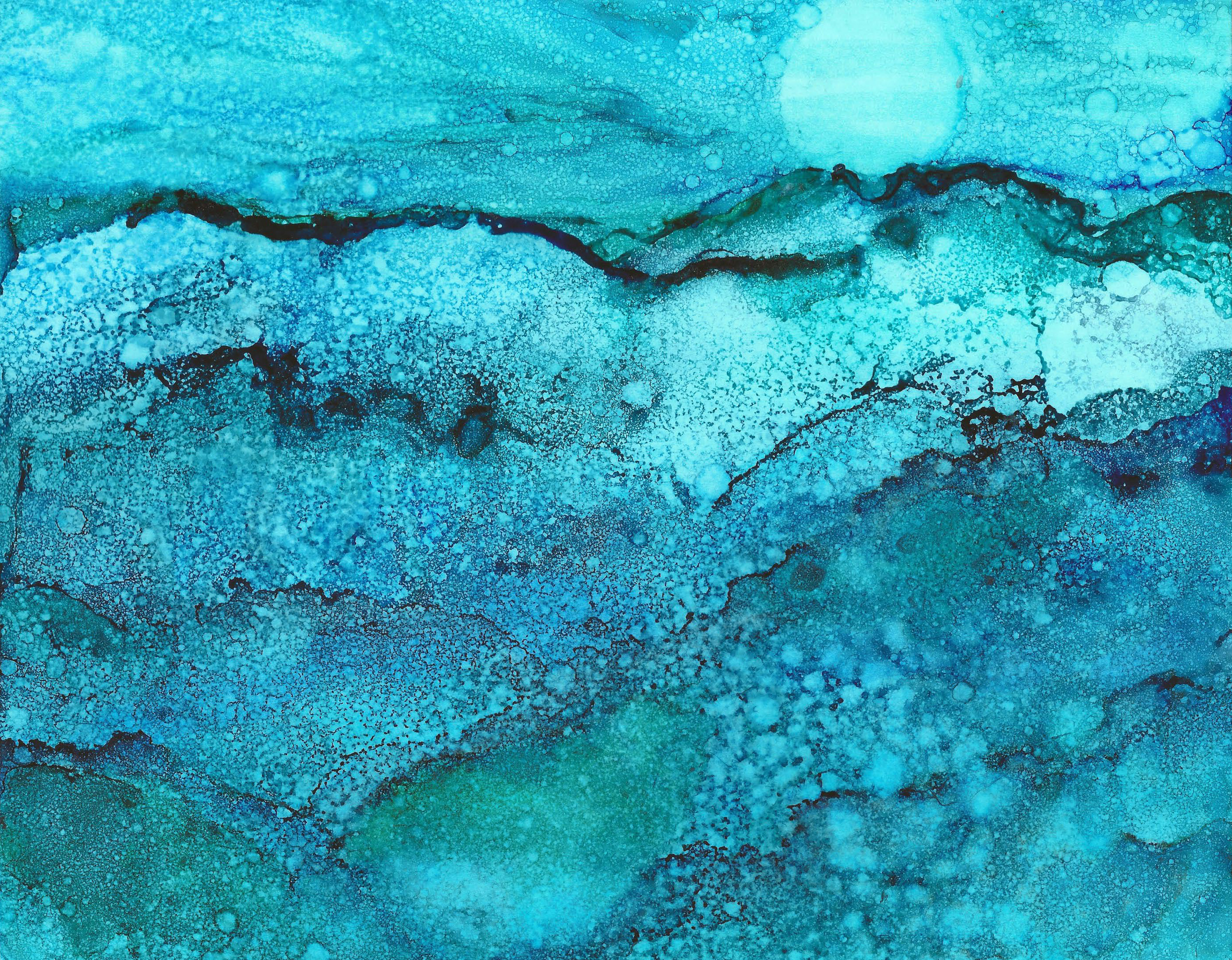 Moonlit Snow - Alcohol Ink 11 X 14 - $175