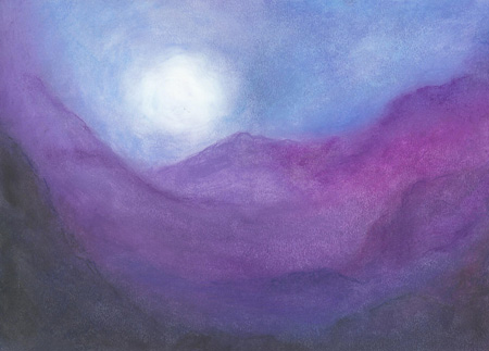 Moonrise over the Mountains - Oil pastel 10 X 14, $175
