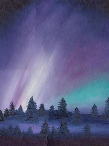 Night Time Northern Lights - Oil Painting 18 X 24 - $350