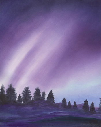 Northern Lights Sky - Watercolor 20 X 25 - $375