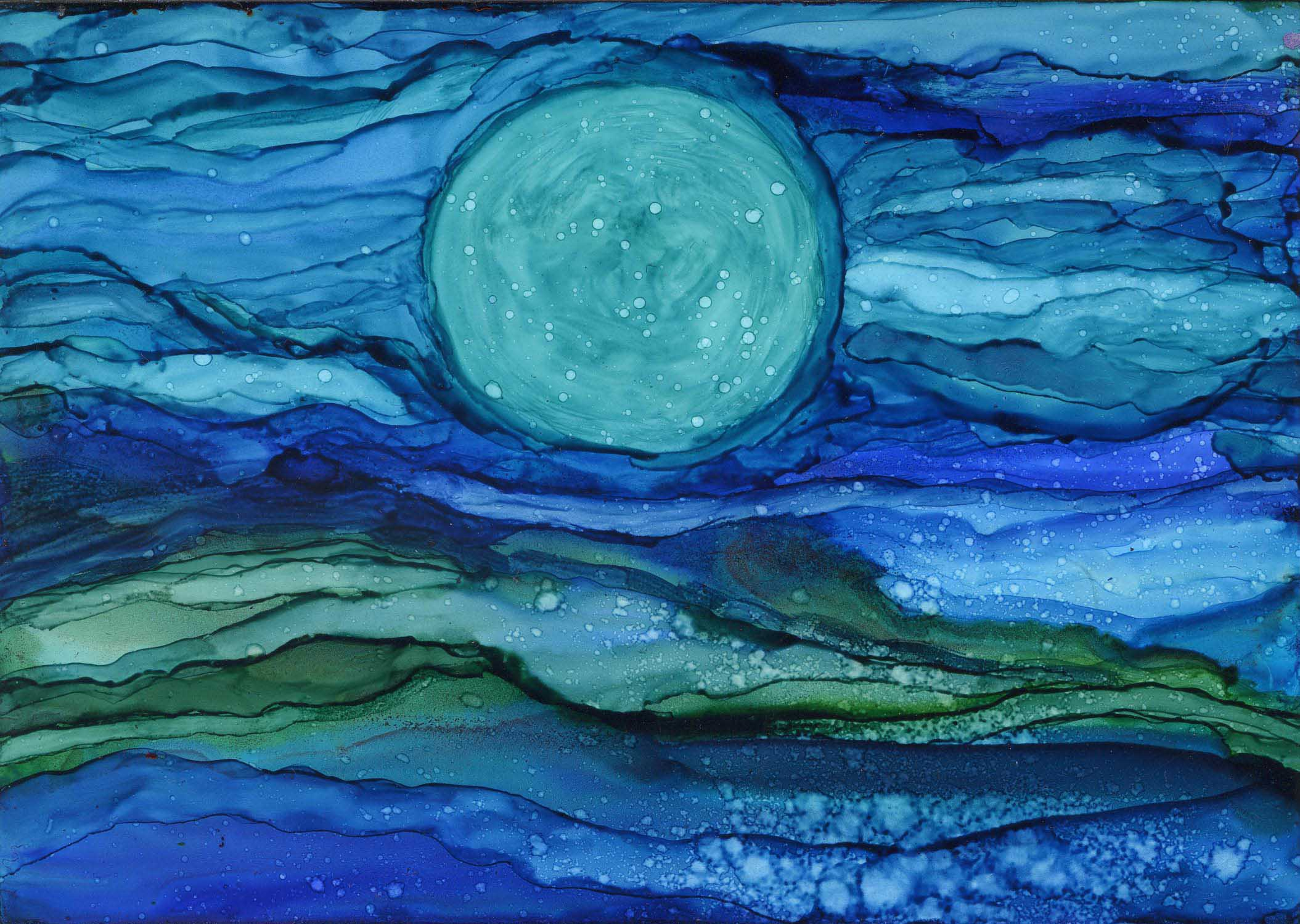Owen's Moon - Alcohol Ink 5 X 7 - Sold