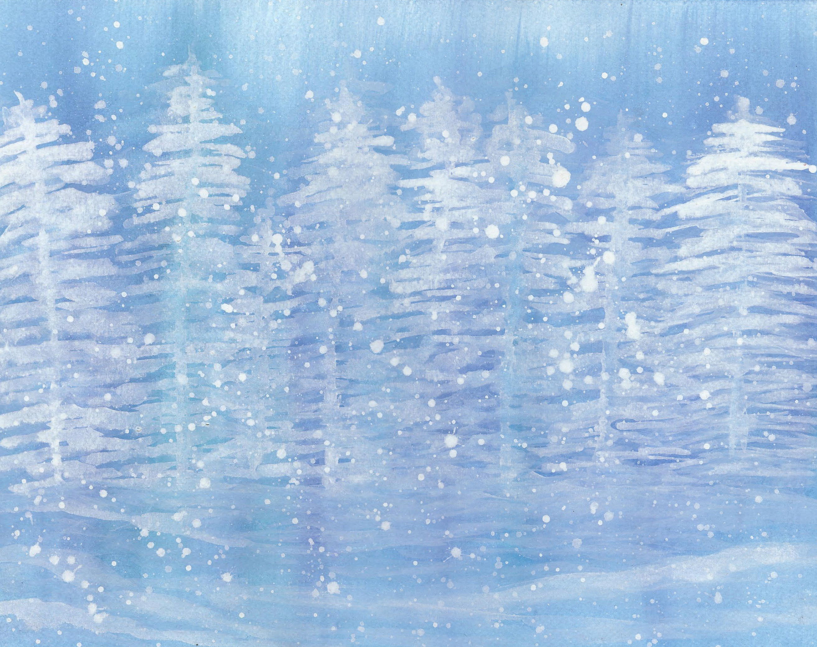 Snowy - Watercolor 11 X 14 - $125