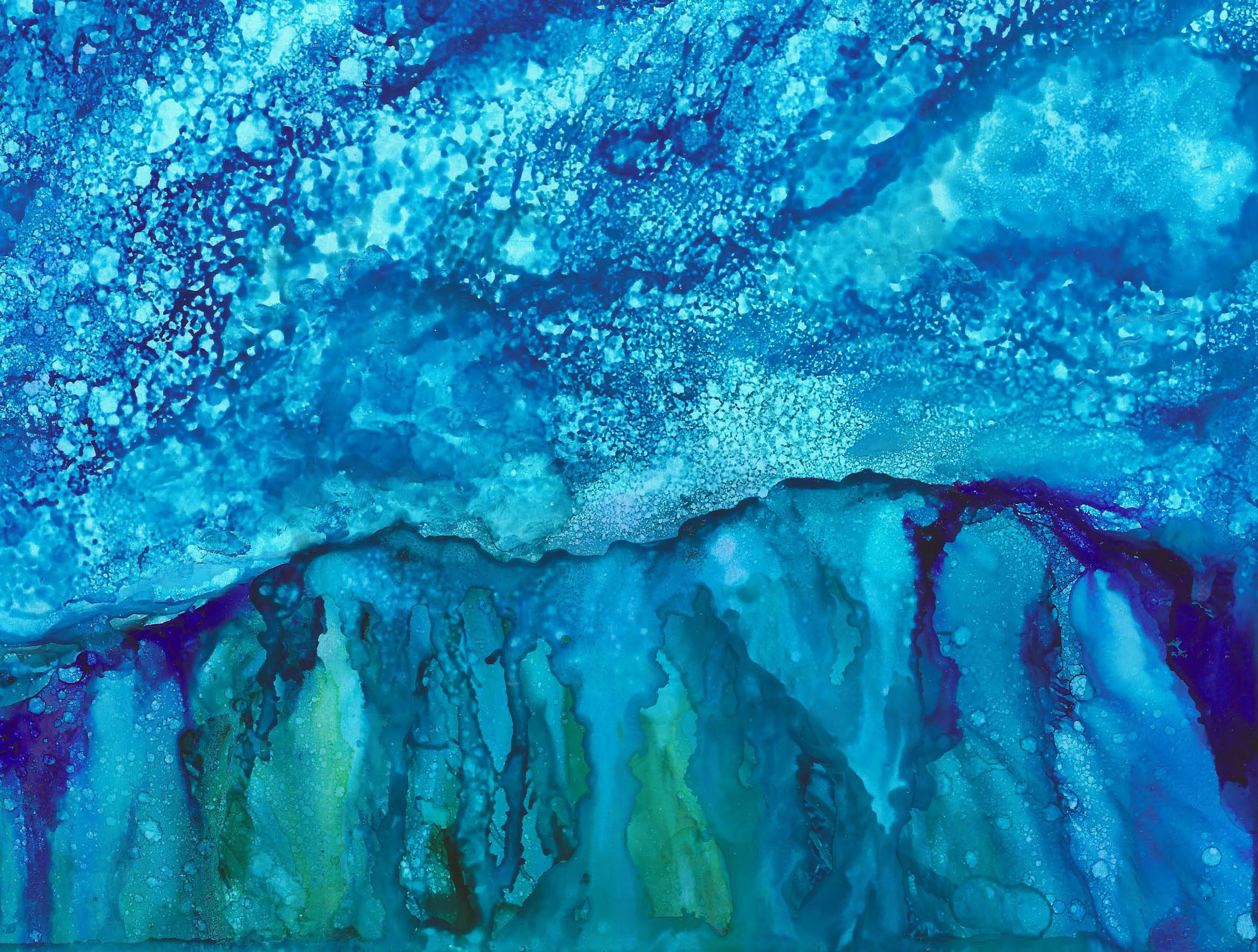 Starlight Mountains - Alcohol Ink - 9 X 12 $130 - Sold - Print Available