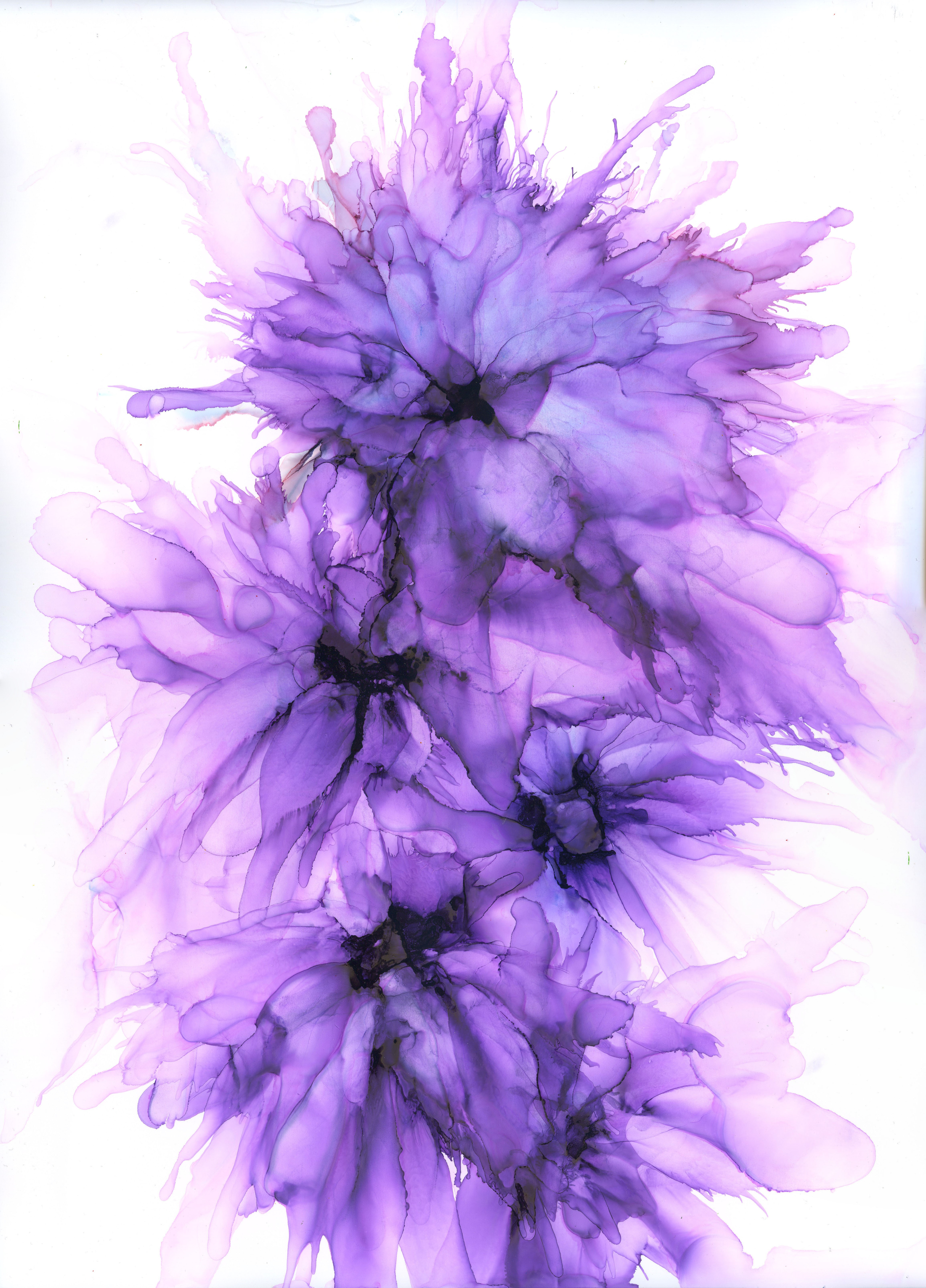 Tara's Bouquet - Alcohol Ink - 12 X 16 - Sold - Print Available