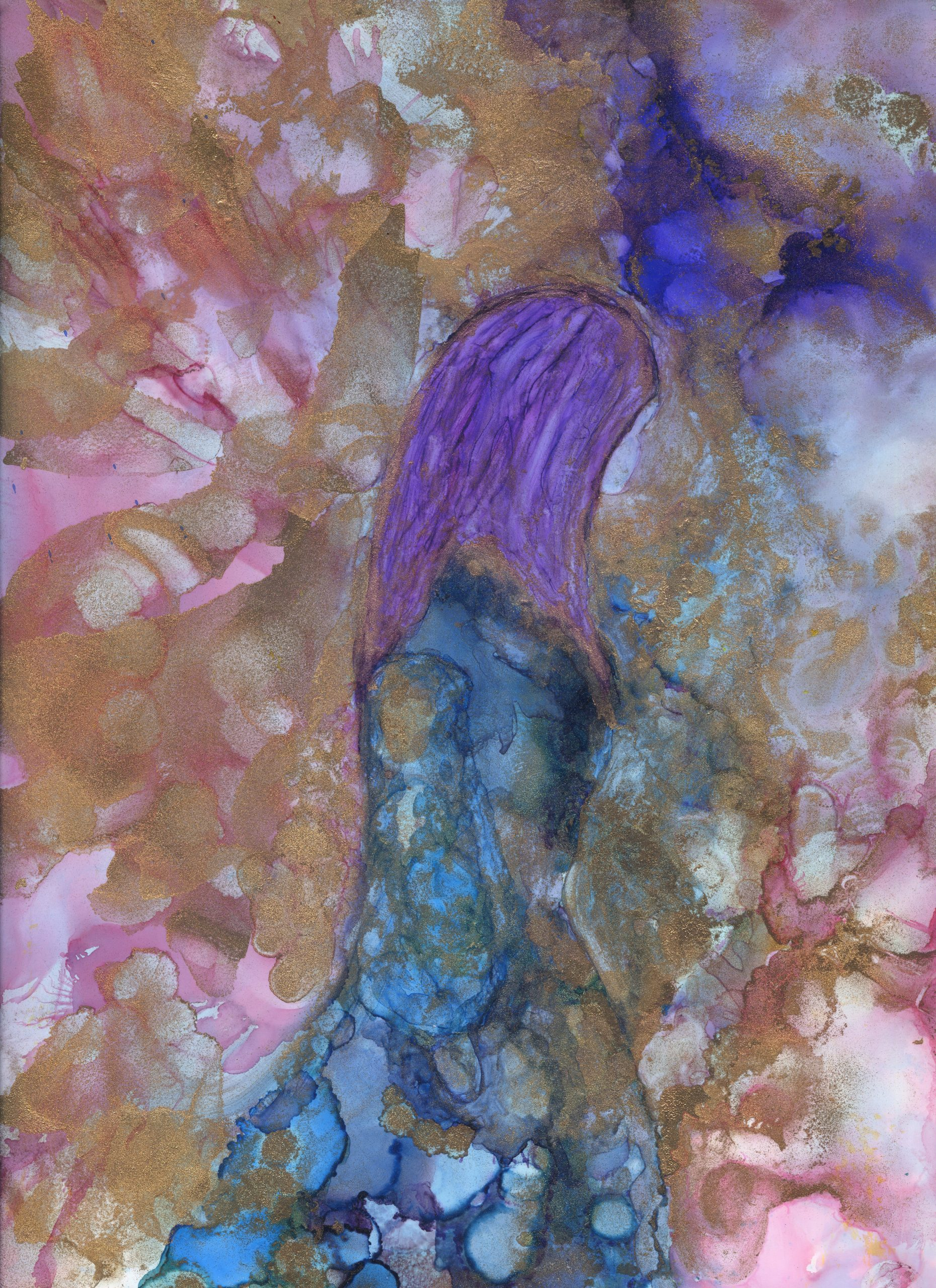 Walking By - Alcohol ink - 9 X 12 - $140