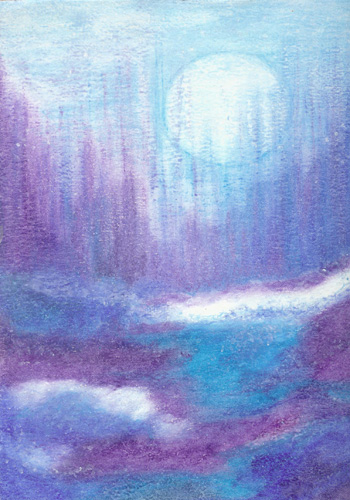 Winter Moon - Oil Pastel 9 X 12 - $100