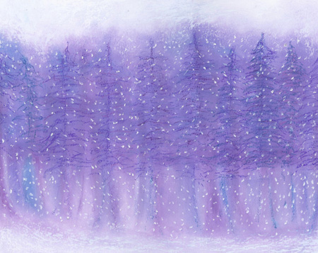 Winter Snow - Oil Pastel 11 X 14 - Sold