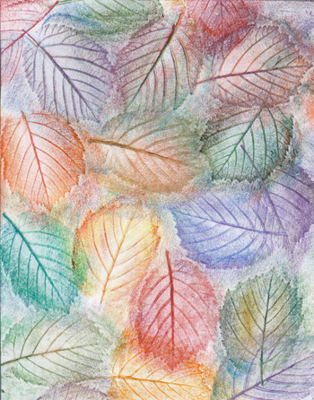 Rainbow Hazel Nut Leaves - Crayon - 8 X 11 - $90