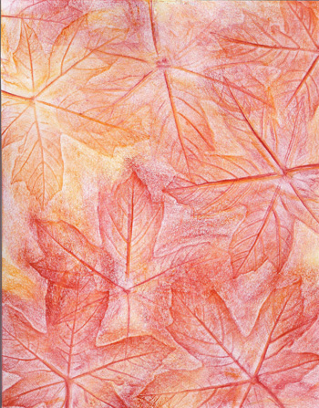 Autumn Maple Leaves Red - Crayon - 8 x 11 - $80