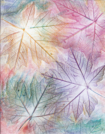 Rainbow Maple Leaves - Crayon - 8 x 11 - $80