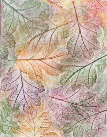 Autumn Oak Leaves - Crayon - 8 x 11 - $80