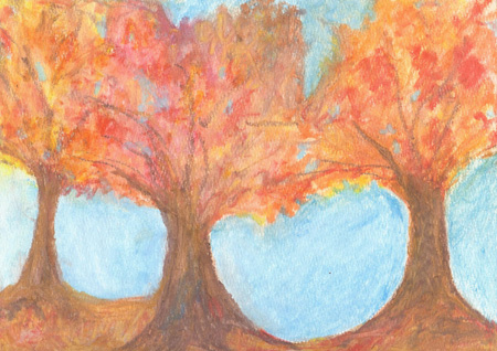 Autumn Trees - Watercolor - 9 x 12 - $90