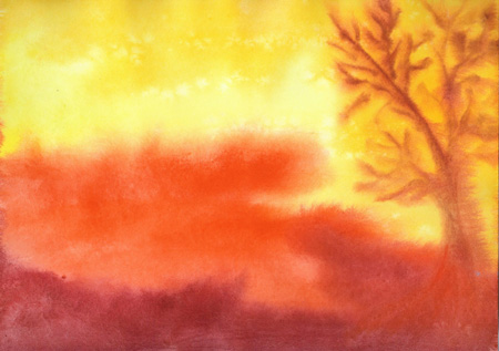 Fire Autumn - Watercolor - 9 x 12 - $125