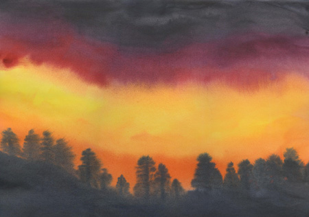 Fire Sunset - Watercolor 12 X 17 - $160