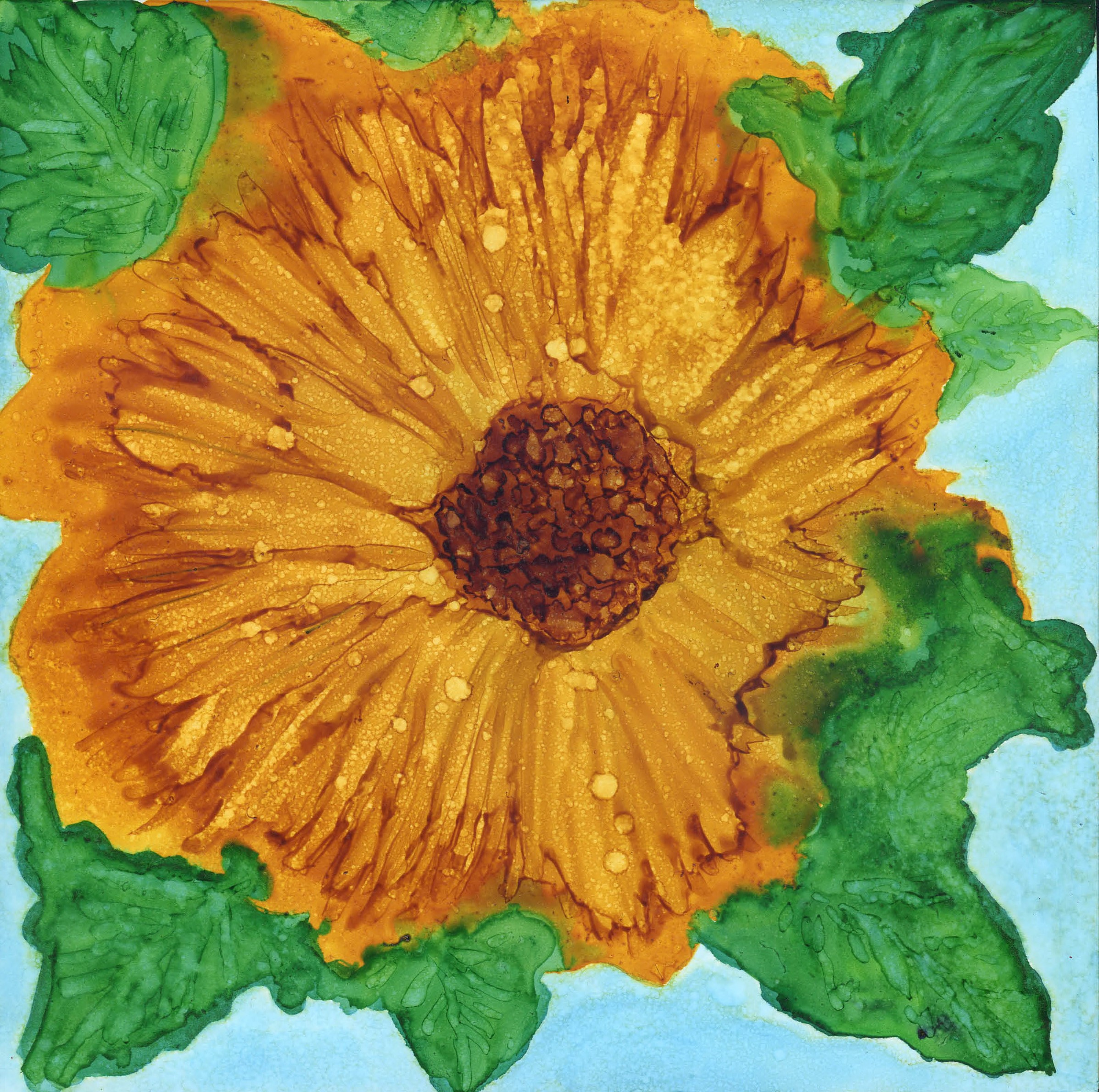 Golden Flower - Alcohol Ink - 8 X 8 - Sold - Print Available