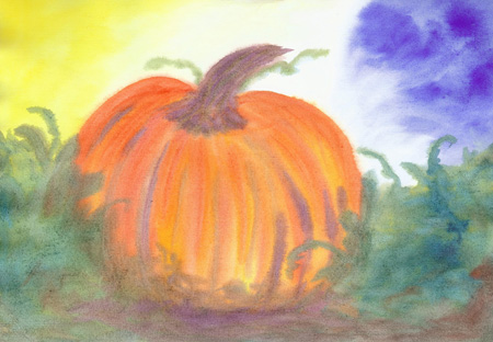 Pumpkin Harvest - Watercolor - 12 x 17 - $150