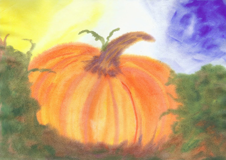 Pumpkin Patch - Watercolor 12 x 17 - $150
