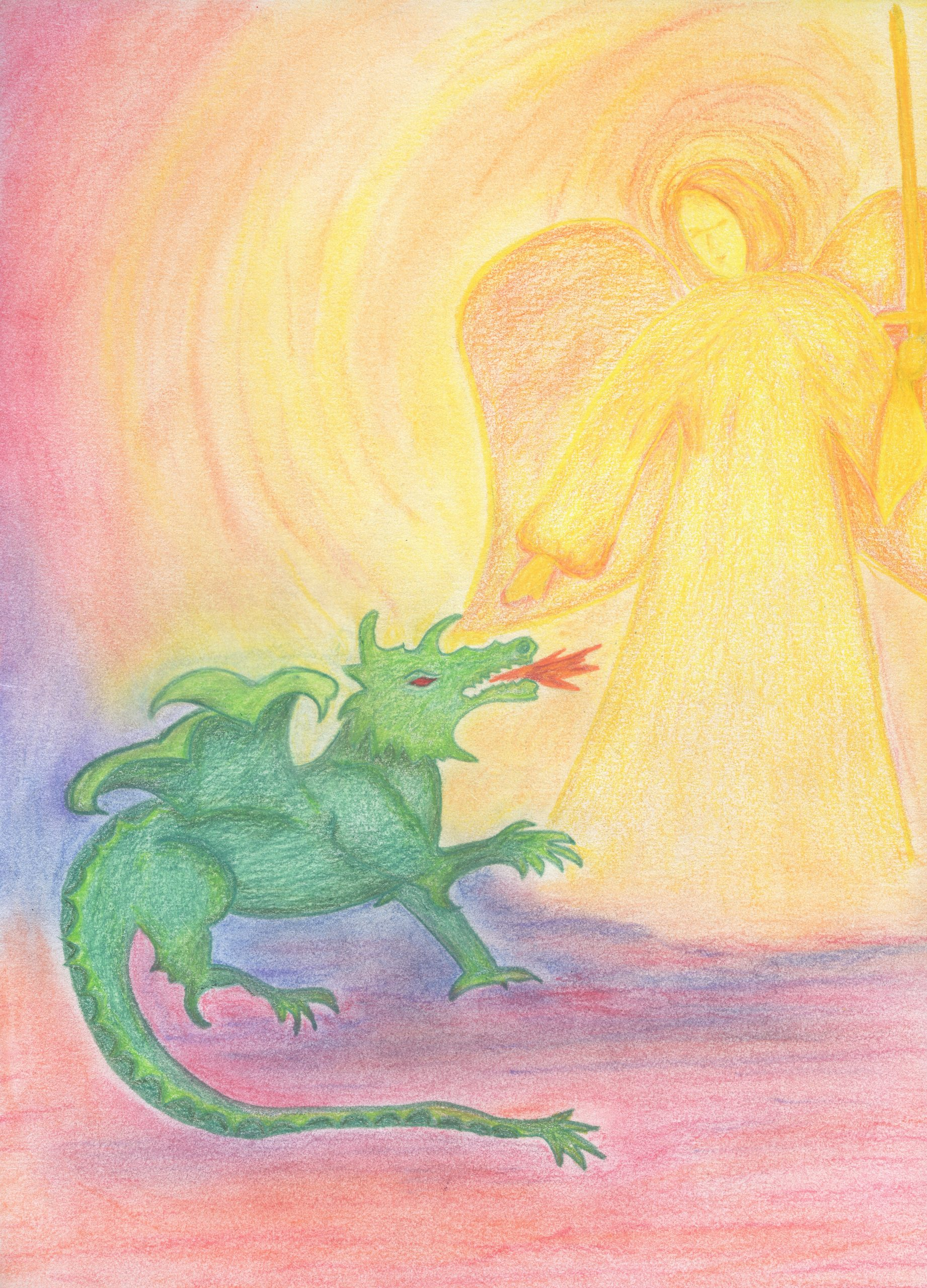 St. Micahel and the Dragon - Pencil and Pastel - 9 X 12 - $130